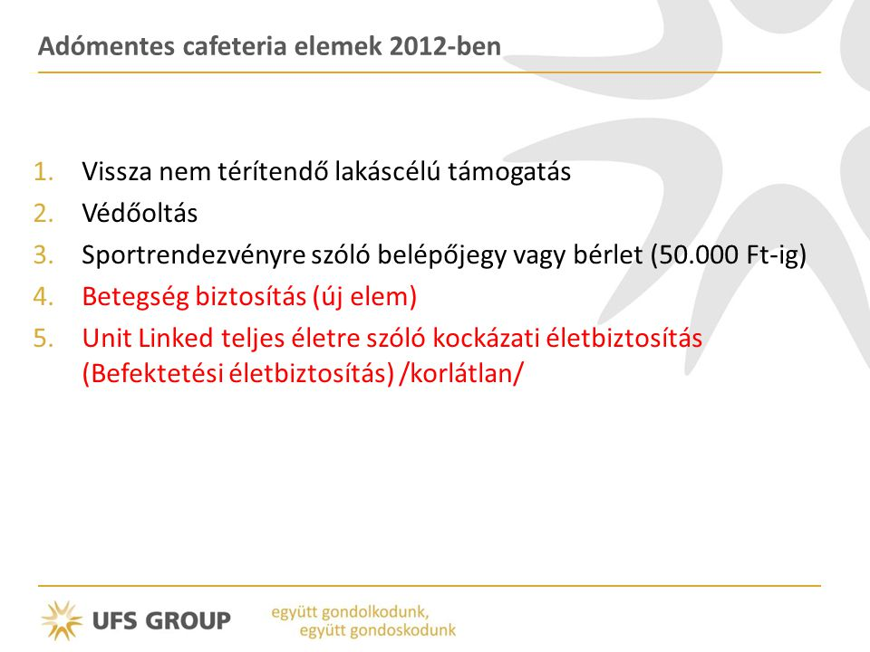 Adómentes cafeteria elemek 2012-ben 1.Vissza nem térítendő lakáscélú támogatás 2.Védőoltás 3.Sportrendezvényre szóló belépőjegy vagy bérlet (50.000 Ft