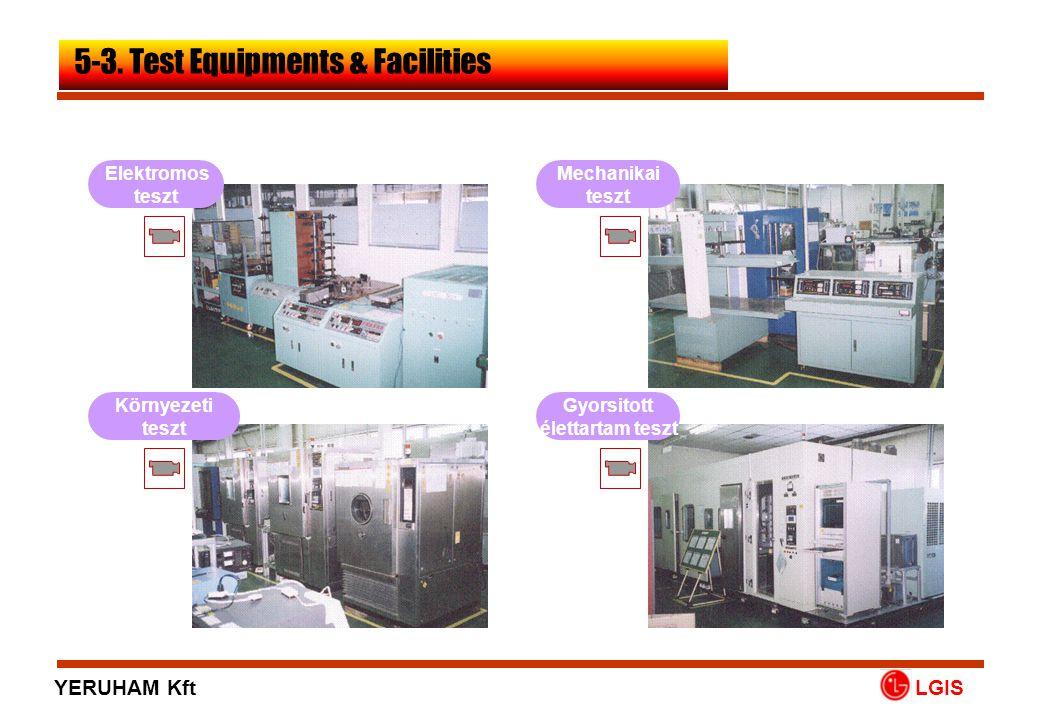 Elektromos teszt Mechanikai teszt Környezeti teszt Gyorsitott élettartam teszt LGIS 5-3. Test Equipments & Facilities YERUHAM Kft
