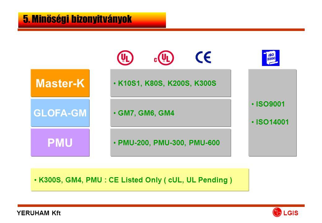 Master-K PMU GLOFA-GM • ISO9001 • ISO14001 • K10S1, K80S, K200S, K300S • GM7, GM6, GM4 • PMU-200, PMU-300, PMU-600 • K300S, GM4, PMU : CE Listed Only