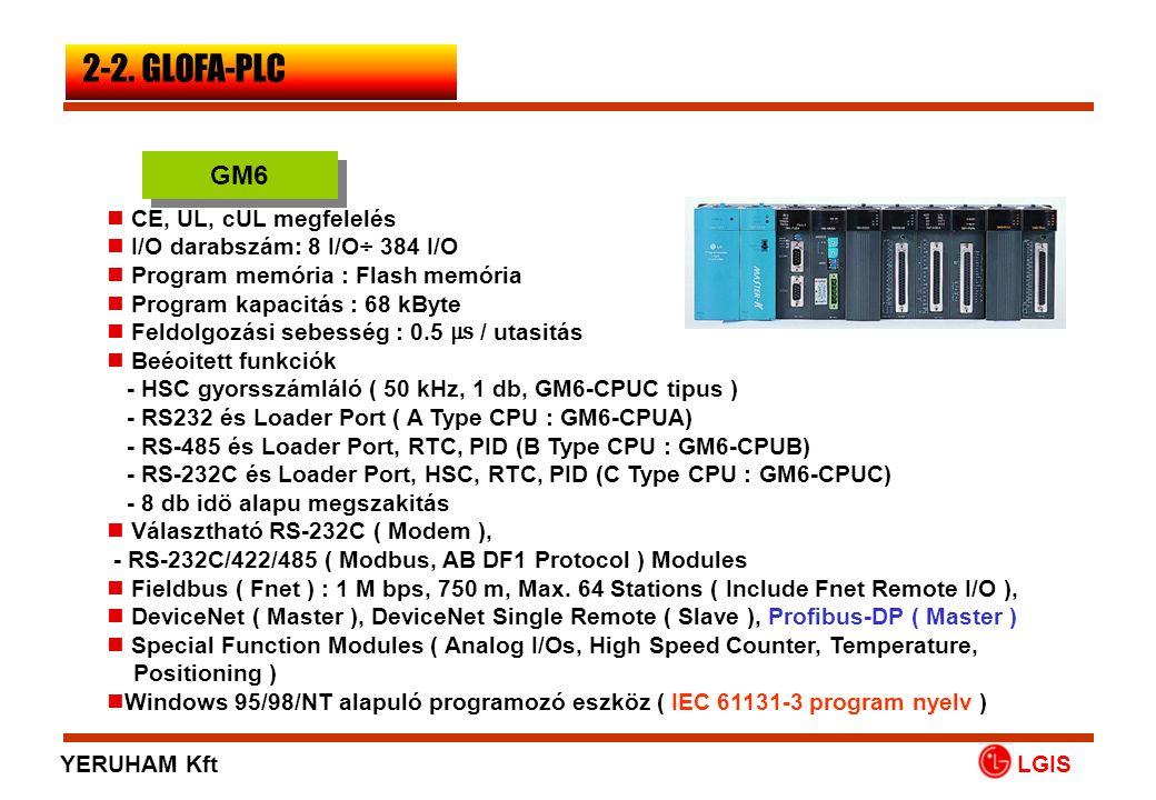 LGIS  CE, UL, cUL megfelelés  I/O darabszám: 8 I/O÷ 384 I/O  Program memória : Flash memória  Program kapacitás : 68 kByte  Feldolgozási sebesség
