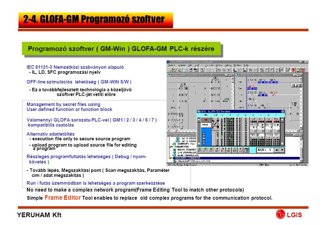 LGIS OFF-line szimulációs lehetöség ( GM-WIN S/W ) - Ez a továbbfejlesztett technológia a közeljövö szoftver PLC-jét vetiti elöre Management by secret