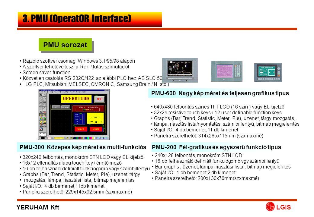 LGIS PMU sorozat • 640x480 felbontás szines TFT LCD (16 szin ) vagy EL kijelzö • 32x24 resistive touch keys / 12 user definable function keys • Graphs