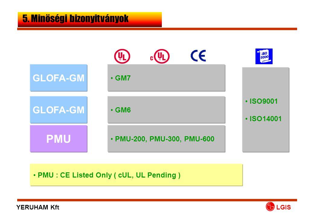PMU GLOFA-GM • ISO9001 • ISO14001 • GM6 • PMU-200, PMU-300, PMU-600 LGIS • PMU : CE Listed Only ( cUL, UL Pending ) 5. Minöségi bizonyitványok GLOFA-G