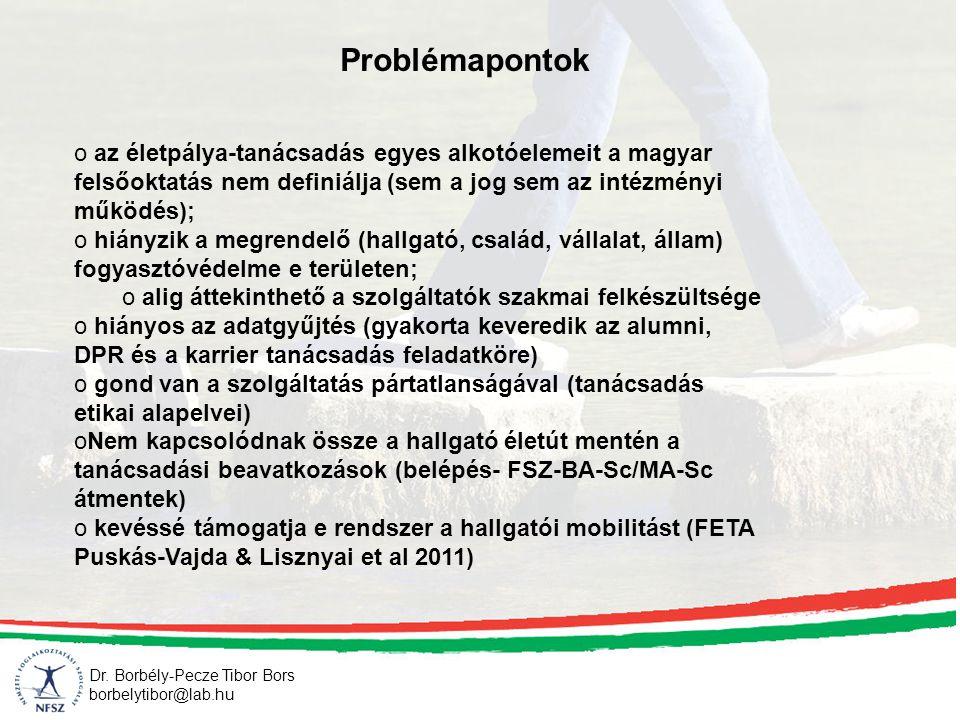 Dr. Borbély-Pecze Tibor Bors borbelytibor@lab.hu Problémapontok o az életpálya-tanácsadás egyes alkotóelemeit a magyar felsőoktatás nem definiálja (se