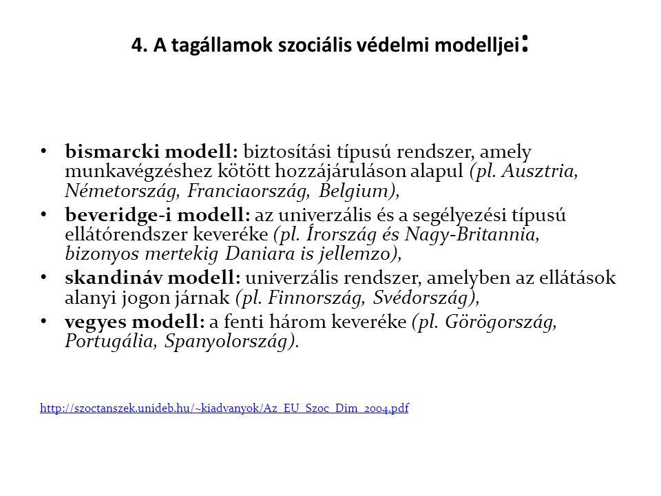 4. A tagállamok szociális védelmi modelljei : • bismarcki modell: biztosítási típusú rendszer, amely munkavégzéshez kötött hozzájáruláson alapul (pl.