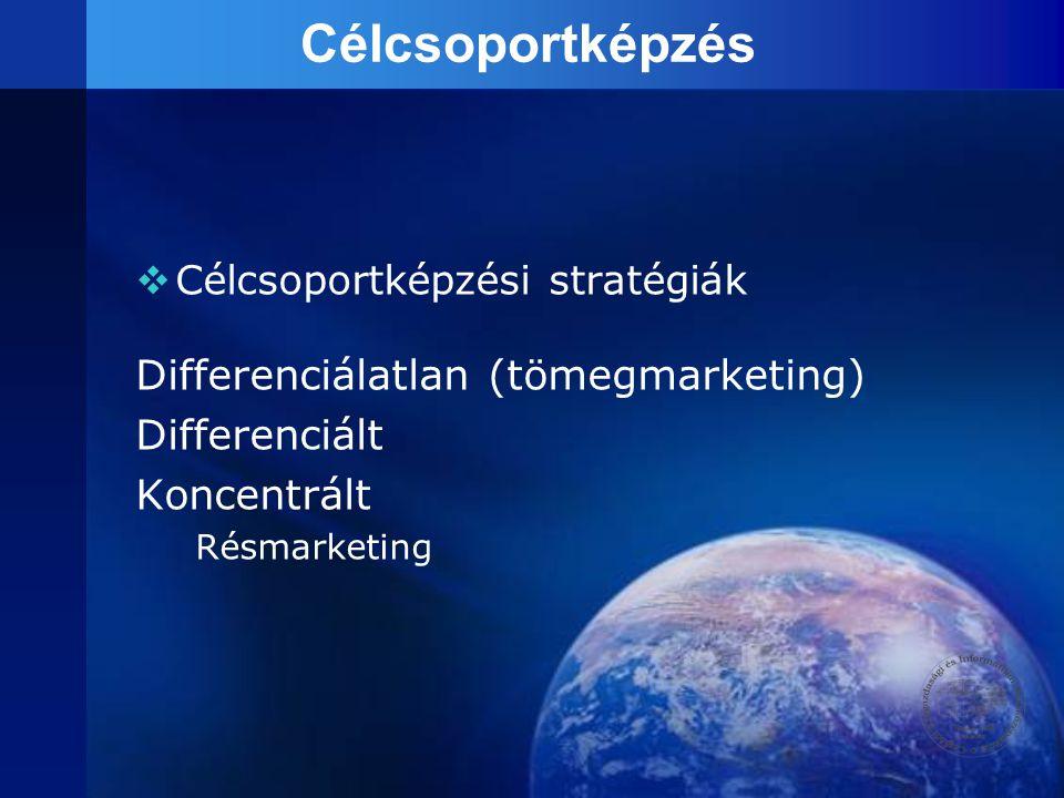 Célcsoportképzés  Célcsoportképzési stratégiák Differenciálatlan (tömegmarketing) Differenciált Koncentrált Résmarketing