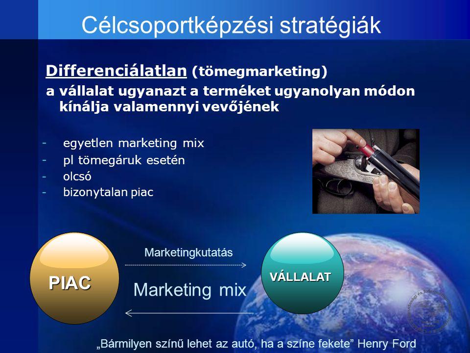 Célcsoportképzési stratégiák Differenciálatlan (tömegmarketing) a vállalat ugyanazt a terméket ugyanolyan módon kínálja valamennyi vevőjének - egyetle