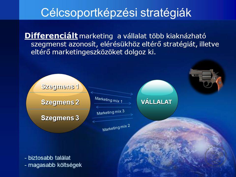 Célcsoportképzési stratégiák Differenciált marketing a vállalat több kiaknázható szegmenst azonosít, elérésükhöz eltérő stratégiát, illetve eltérő mar