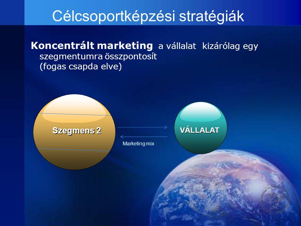 Koncentrált marketing a vállalat kizárólag egy szegmentumra összpontosít (fogas csapda elve) Szegmens 2 VÁLLALAT Marketing mix Célcsoportképzési strat