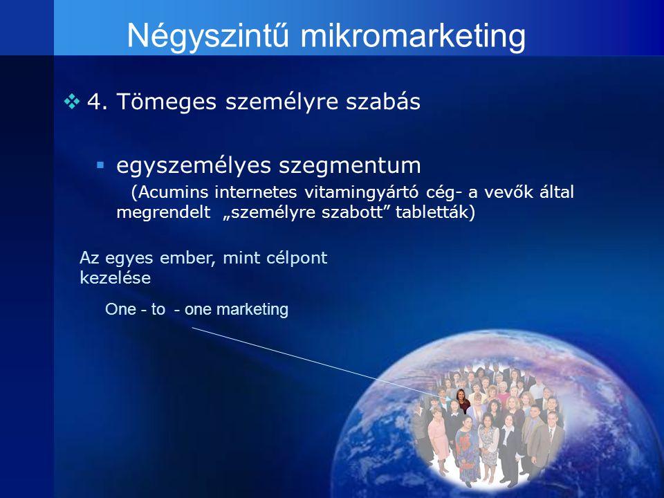 """Négyszintű mikromarketing 44. Tömeges személyre szabás eegyszemélyes szegmentum (Acumins internetes vitamingyártó cég- a vevők által megrendelt """"s"""