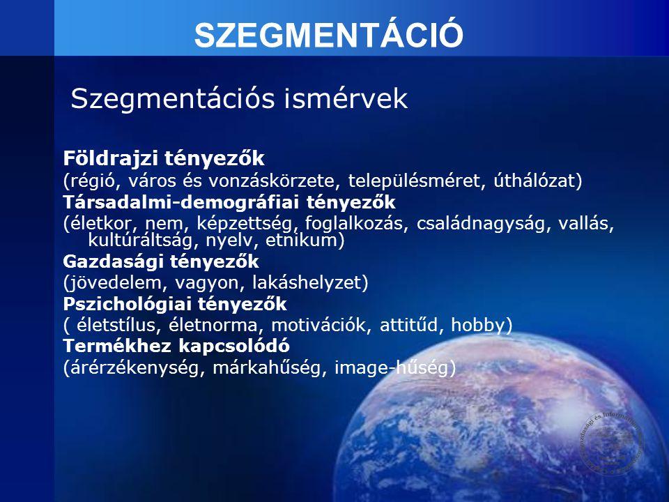 SZEGMENTÁCIÓ Szegmentációs ismérvek Földrajzi tényezők (régió, város és vonzáskörzete, településméret, úthálózat) Társadalmi-demográfiai tényezők (éle