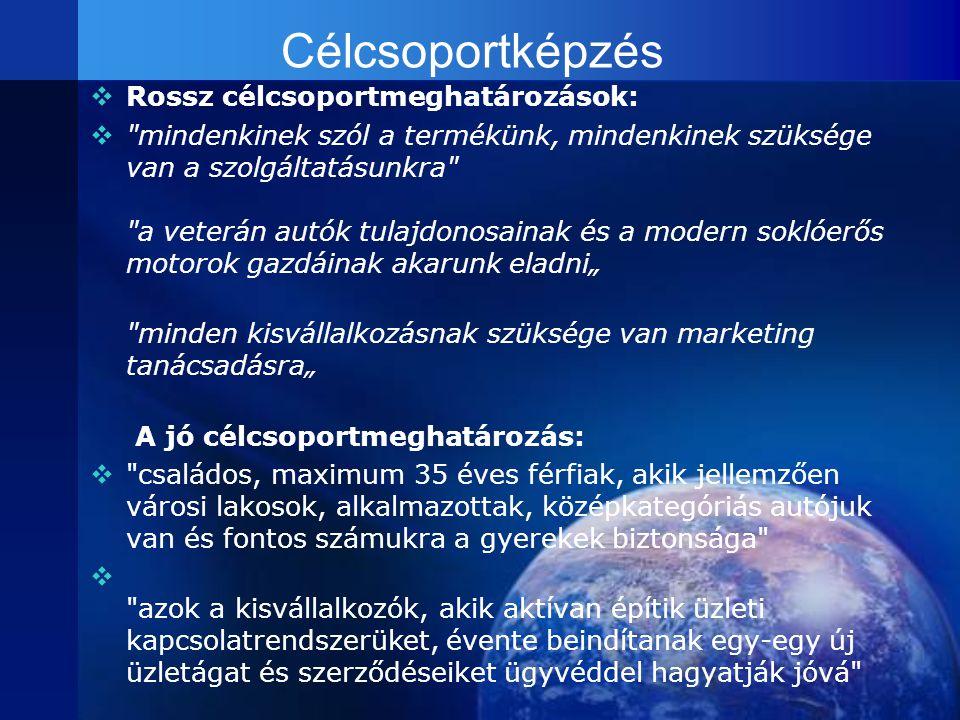 Célcsoportképzés RRossz célcsoportmeghatározások: 