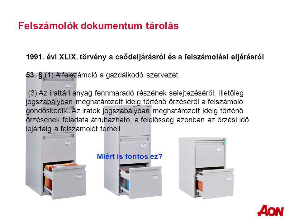 Felszámolók dokumentum tárolás 1991. évi XLIX.