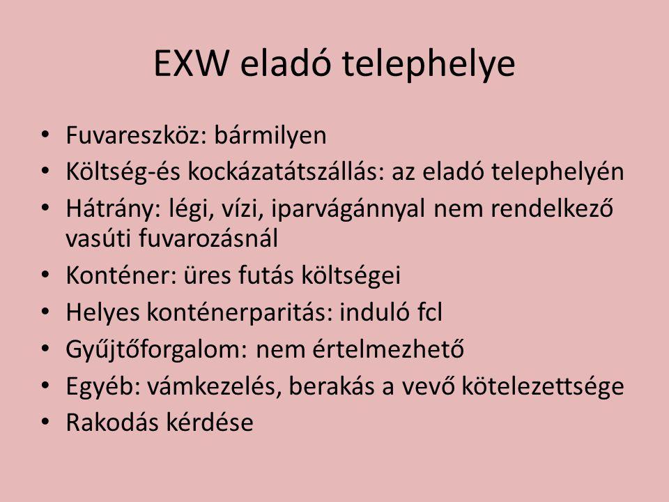 EXW eladó telephelye • Fuvareszköz: bármilyen • Költség-és kockázatátszállás: az eladó telephelyén • Hátrány: légi, vízi, iparvágánnyal nem rendelkező