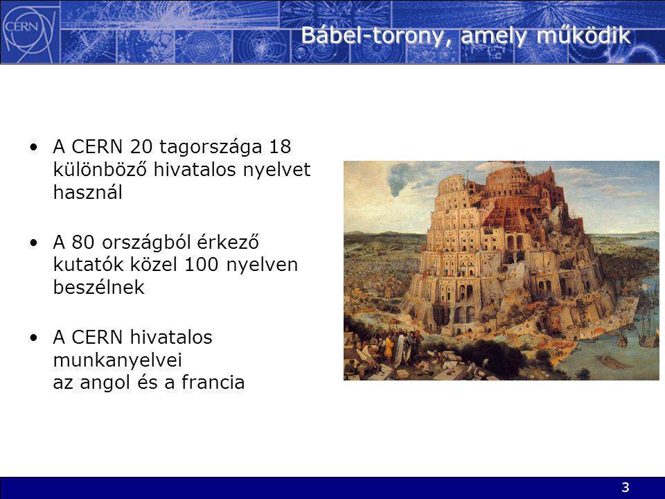 3 Bábel-torony, amely működik •A CERN 20 tagországa 18 különböző hivatalos nyelvet használ •A 80 országból érkező kutatók közel 100 nyelven beszélnek