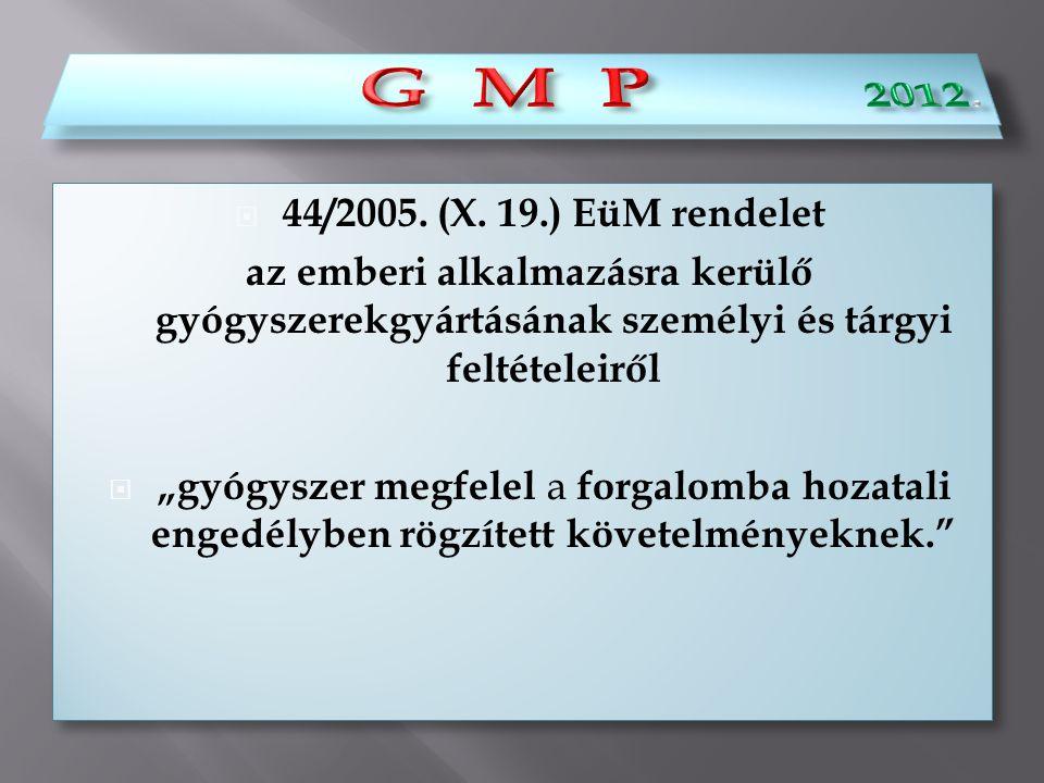""" 44/2005. (X. 19.) EüM rendelet az emberi alkalmazásra kerülő gyógyszerekgyártásának személyi és tárgyi feltételeiről  """"gyógyszer megfelel a forgalo"""