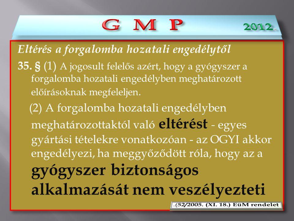Eltérés a forgalomba hozatali engedélytől 35. § (1) A jogosult felelős azért, hogy a gyógyszer a forgalomba hozatali engedélyben meghatározott előírás