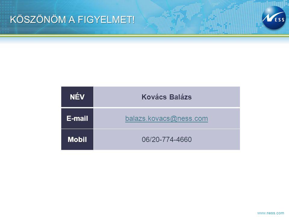 www.ness.com KÖSZÖNÖM A FIGYELMET! NÉVKovács Balázs E-mailbalazs.kovacs@ness.com Mobil06/20-774-4660