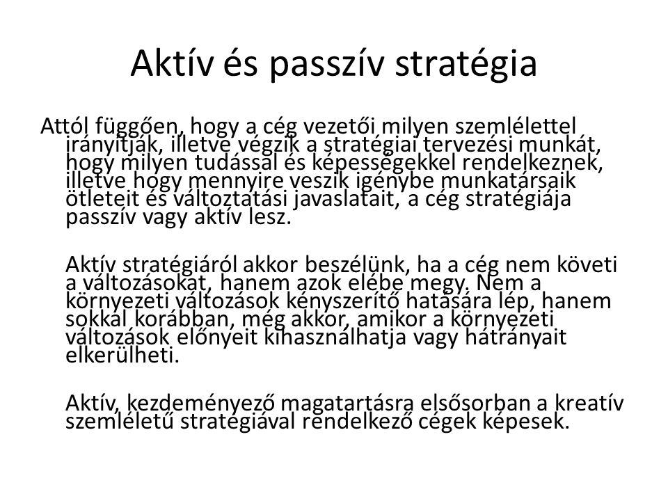 Stratégiai tervezés és vezetés fogalma 4.A stratégia segít a környezethez való illeszkedésben és alkalmazkodásban.