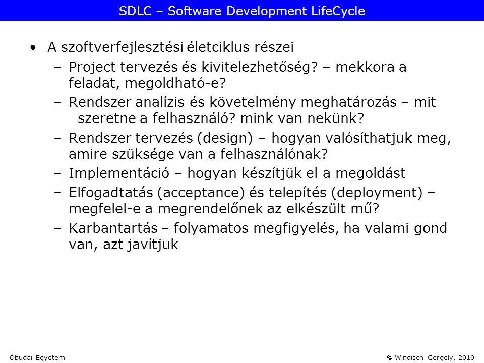  Windisch Gergely, 2010 SDLC – Software Development LifeCycle •A szoftverfejlesztési életciklus részei –Project tervezés és kivitelezhetőség? – mekko