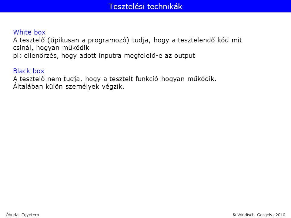  Windisch Gergely, 2010 White box A tesztelő (tipikusan a programozó) tudja, hogy a tesztelendő kód mit csinál, hogyan működik pl: ellenőrzés, hogy a