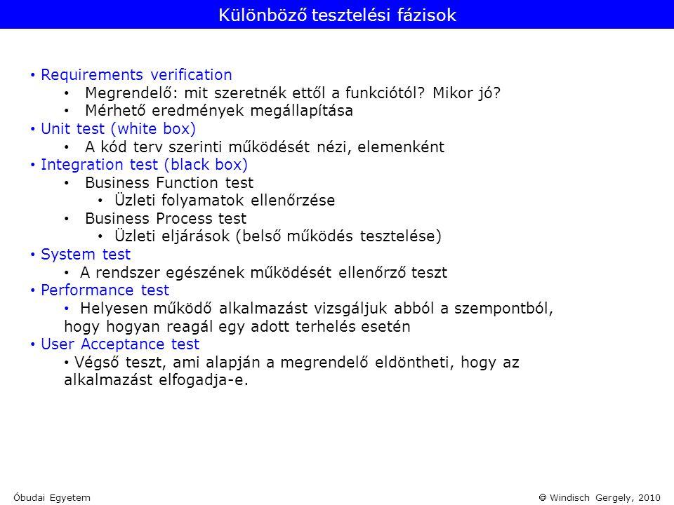  Windisch Gergely, 2010 • Requirements verification • Megrendelő: mit szeretnék ettől a funkciótól? Mikor jó? • Mérhető eredmények megállapítása • Un