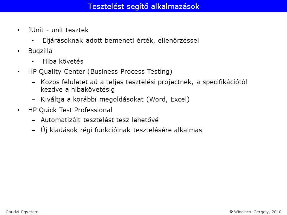  Windisch Gergely, 2010 • JUnit - unit tesztek • Eljárásoknak adott bemeneti érték, ellenőrzéssel • Bugzilla • Hiba követés • HP Quality Center (Busi