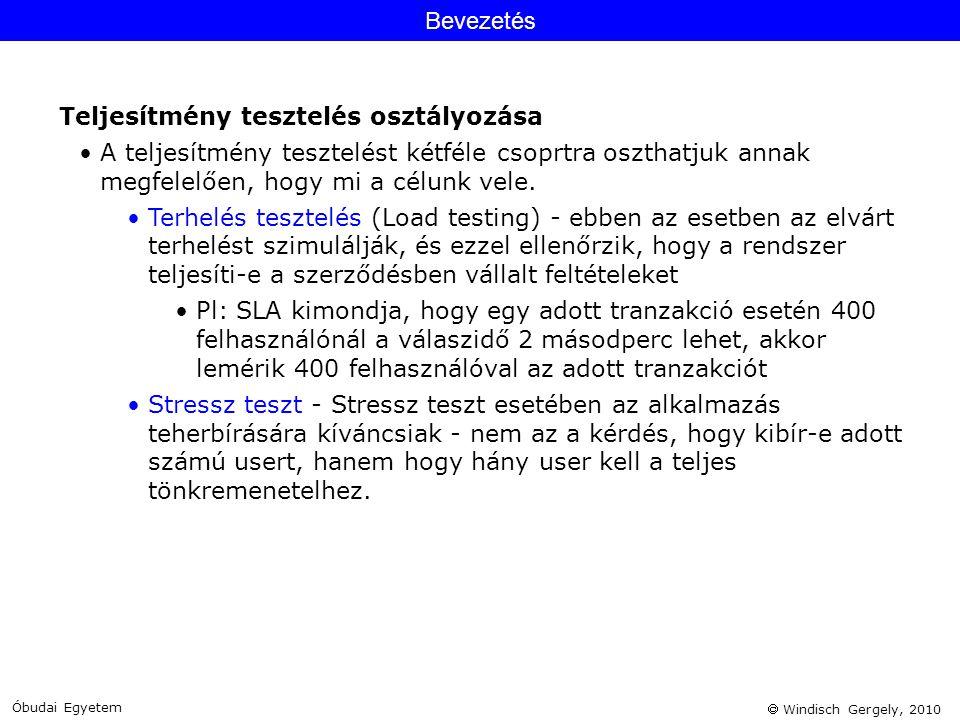  Windisch Gergely, 2010 Bevezetés Teljesítmény tesztelés osztályozása •A teljesítmény tesztelést kétféle csoprtra oszthatjuk annak megfelelően, hogy