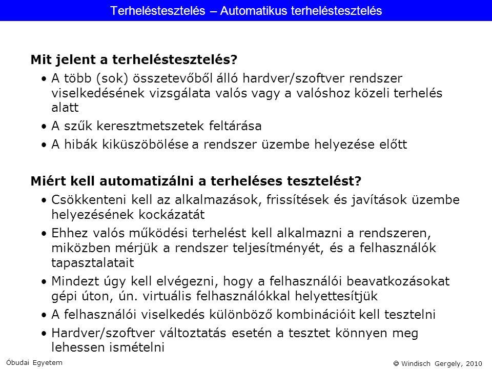  Windisch Gergely, 2010 Mit jelent a terheléstesztelés? •A több (sok) összetevőből álló hardver/szoftver rendszer viselkedésének vizsgálata valós vag
