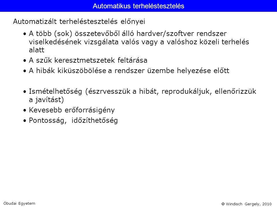  Windisch Gergely, 2010 •A több (sok) összetevőből álló hardver/szoftver rendszer viselkedésének vizsgálata valós vagy a valóshoz közeli terhelés ala