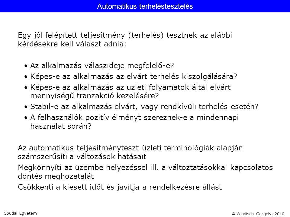 Windisch Gergely, 2010 Egy jól felépített teljesítmény (terhelés) tesztnek az alábbi kérdésekre kell választ adnia: •Az alkalmazás válaszideje megfe