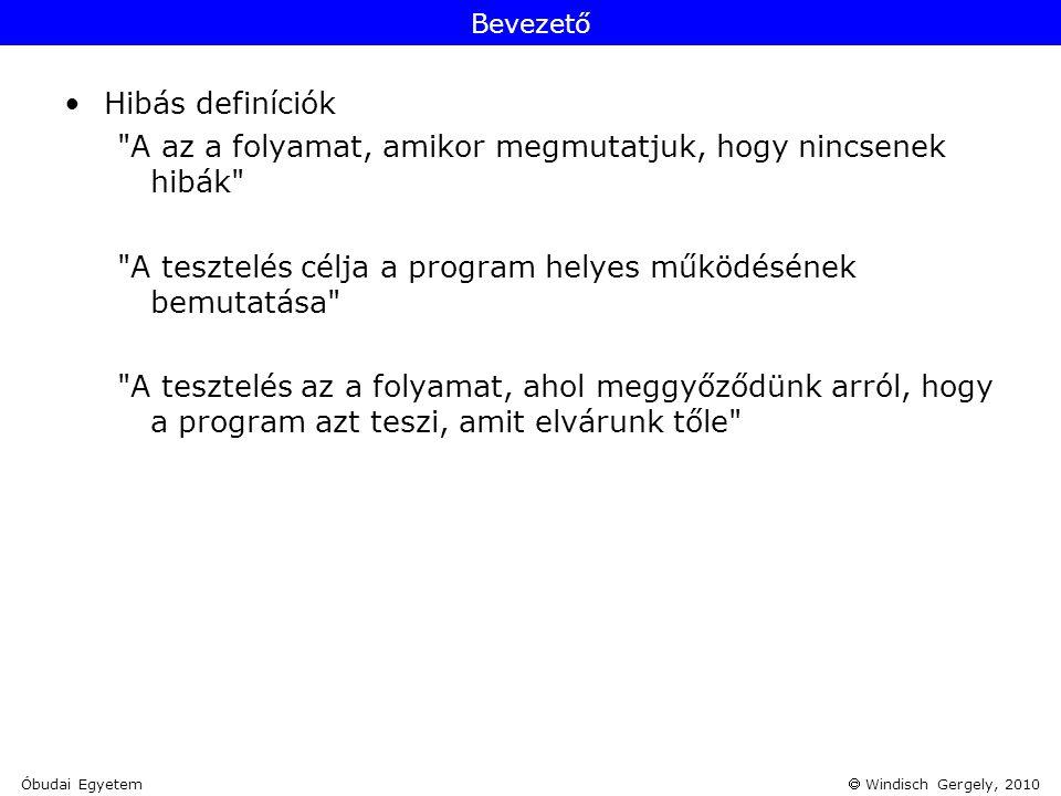  Windisch Gergely, 2010 Forrás: [1] Szoftvertesztelés fejlődése Óbudai Egyetem