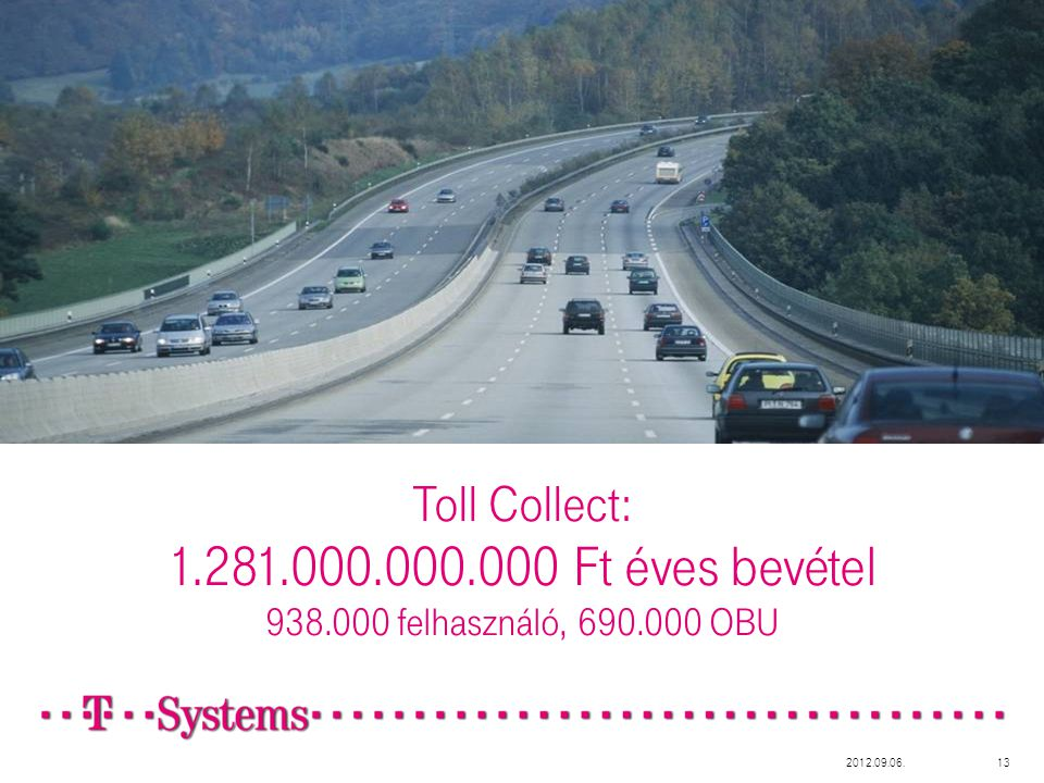 Toll Collect: 1.281.000.000.000 Ft éves bevétel 938.000 felhasználó, 690.000 OBU 2012.09.06.13