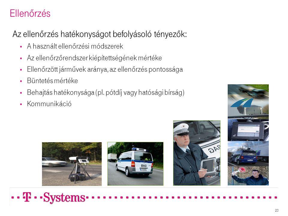 Ellenőrzés 20 Az ellenőrzés hatékonyságot befolyásoló tényezők:  A használt ellenőrzési módszerek  Az ellenőrzőrendszer kiépítettségének mértéke  Ellenőrzött járművek aránya, az ellenőrzés pontossága  Büntetés mértéke  Behajtás hatékonysága (pl.