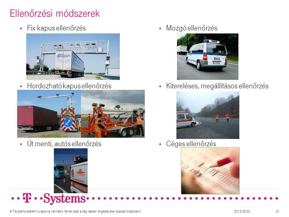  Mozgó ellenőrzés  Kitereléses, megállításos ellenőrzés  Céges ellenőrzés Ellenőrzési módszerek 21  Fix kapus ellenőrzés  Hordozható kapus ellenőrzés  Út menti, autós ellenőrzés A T-Systems szellemi tulajdona, harmadik félnek csak a cég írásbeli engedélyével szabad továbbadni!2012.08.23.
