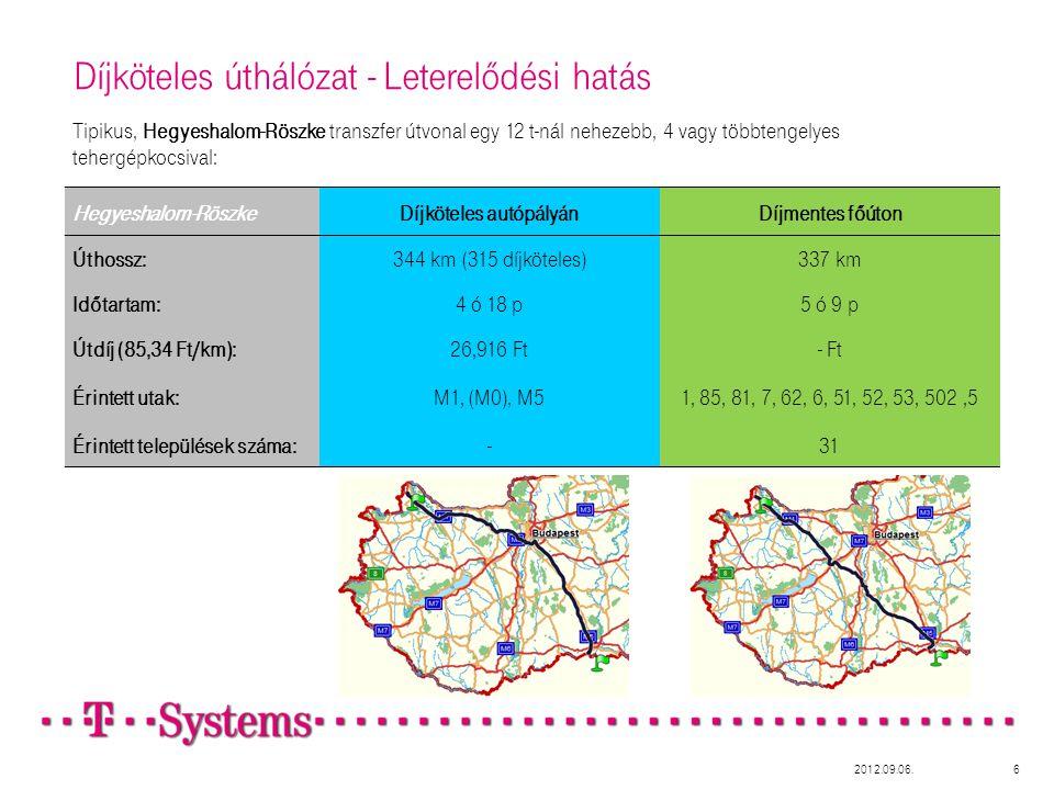 Hegyeshalom-RöszkeDíjköteles autópályánDíjmentes főúton Úthossz:344 km (315 díjköteles)337 km Időtartam:4 ó 18 p5 ó 9 p Útdíj (85,34 Ft/km):26,916 Ft- Ft Érintett utak:M1, (M0), M51, 85, 81, 7, 62, 6, 51, 52, 53, 502,5 Érintett települések száma:-31 Díjköteles úthálózat - Leterelődési hatás Tipikus, Hegyeshalom-Röszke transzfer útvonal egy 12 t-nál nehezebb, 4 vagy többtengelyes tehergépkocsival: 2012.09.06.6