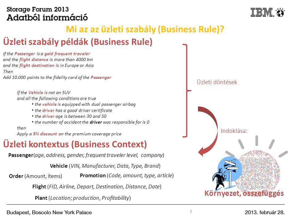 Mi az az üzleti szabály (Business Rule)? 7 Üzleti kontextus (Business Context) Vehicle (VIN, Manufacturer, Data, Type, Brand) Flight (FID, Airline, De