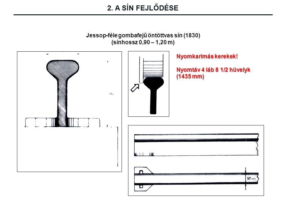 Jessop-féle gombafejű öntöttvas sín (1830) (sínhossz 0,90 – 1,20 m) Nyomkarimás kerekek.