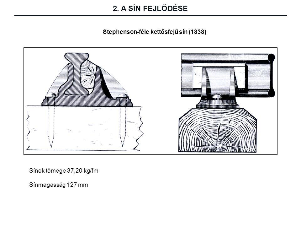Stephenson-féle kettősfejű sín (1838) Sínek tömege 37,20 kg/fm Sínmagasság 127 mm 2.
