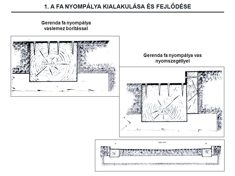 Gerenda fa nyompálya vaslemez borítással Gerenda fa nyompálya vas nyomszegéllyel 1.