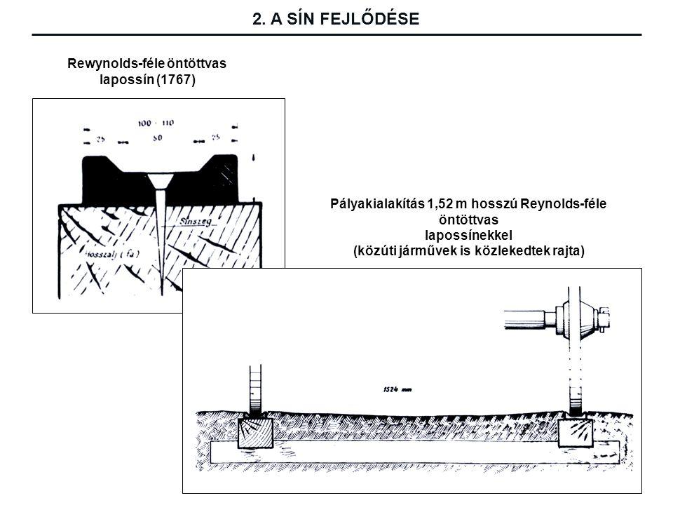 Rewynolds-féle öntöttvas lapossín (1767) Pályakialakítás 1,52 m hosszú Reynolds-féle öntöttvas lapossínekkel (közúti járművek is közlekedtek rajta) 2.