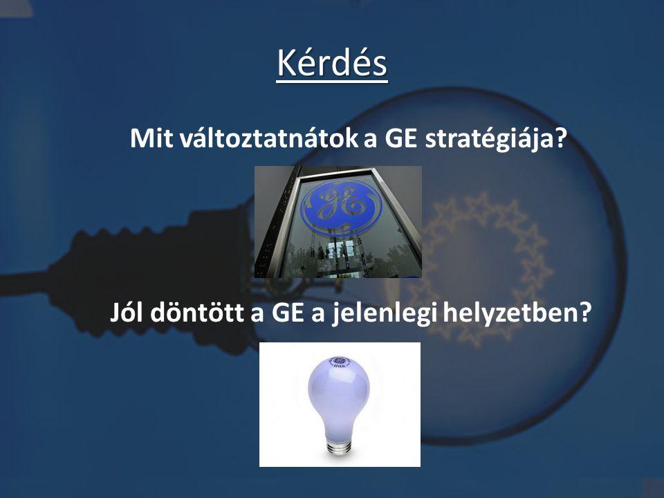 Kérdés Mit változtatnátok a GE stratégiája? Jól döntött a GE a jelenlegi helyzetben?