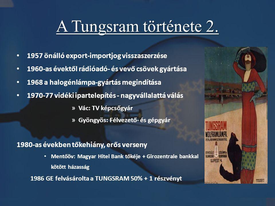 A Tungsram története 2. • 1957 önálló export-importjog visszaszerzése • 1960-as évektől rádióadó- és vevő csövek gyártása • 1968 a halogénlámpa-gyártá