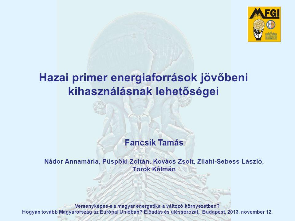 Tartalom  Célkitűzések és realitás: nemzetközi kitekintés  Magyarország energetikai helyzetképe  Nemzeti Energiastratégia  Ásványvagyon-hasznosítási és Készletgazdálkodási Cselekvési Terv  Példák a hazai készletekre és a reális jövőbeli kihasználási lehetőségekre:  szén  szénhidrogének  geotermia  Bányászati koncesszió: egy új korszak?