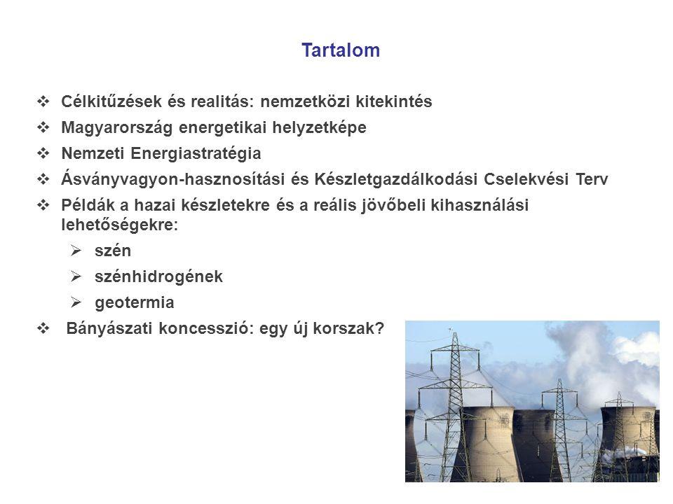 Tartalom  Célkitűzések és realitás: nemzetközi kitekintés  Magyarország energetikai helyzetképe  Nemzeti Energiastratégia  Ásványvagyon-hasznosítá