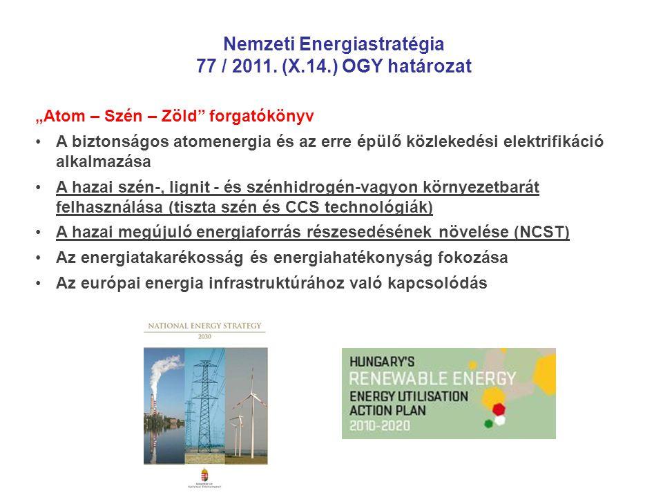 """""""Atom – Szén – Zöld"""" forgatókönyv •A biztonságos atomenergia és az erre épülő közlekedési elektrifikáció alkalmazása •A hazai szén-, lignit - és szénh"""