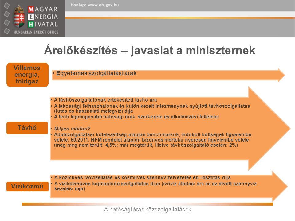 Árelőkészítés – javaslat a miniszternek •Egyetemes szolgáltatási árak Villamos energia, földgáz •A távhőszolgáltatónak értékesített távhő ára •A lakos