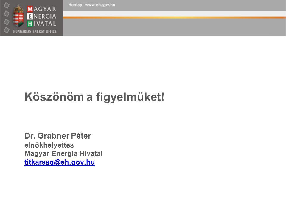 Köszönöm a figyelmüket! Dr. Grabner Péter elnökhelyettes Magyar Energia Hivatal titkarsag@eh.gov.hu titkarsag@eh.gov.hu
