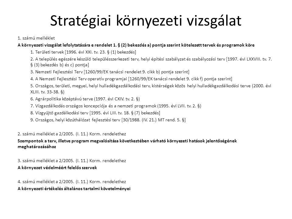Stratégiai környezeti vizsgálat 1. számú melléklet A környezeti vizsgálat lefolytatására e rendelet 1. § (2) bekezdés a) pontja szerint kötelezett ter
