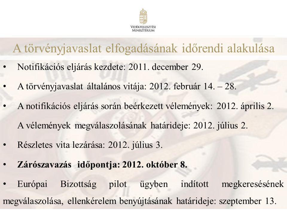 10 A törvényjavaslat elfogadásának időrendi alakulása • Notifikációs eljárás kezdete: 2011. december 29. • A törvényjavaslat általános vitája: 2012. f